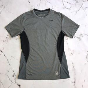 Nike Pro Combat Dri-Fit Shirt Small Grey + Black
